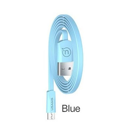 USAMS SJ201 Flat Datový Kabel microUSB 2A Blue (EU Blister)