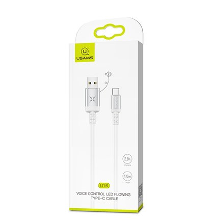 USAMS SJ287 Datový Kabel Type C Voice Control LED White (EU Blister)