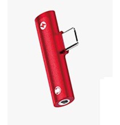 USAMS SJ277 Audio Adapter 3,5mm/Type C Red (EU Blister)