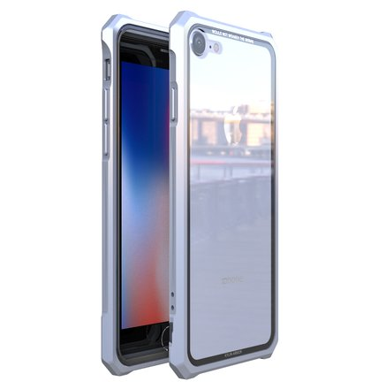 Luphie King of Snaps Magnetic Aluminium Bumper Case Glass Silver pro iPhone 7/8