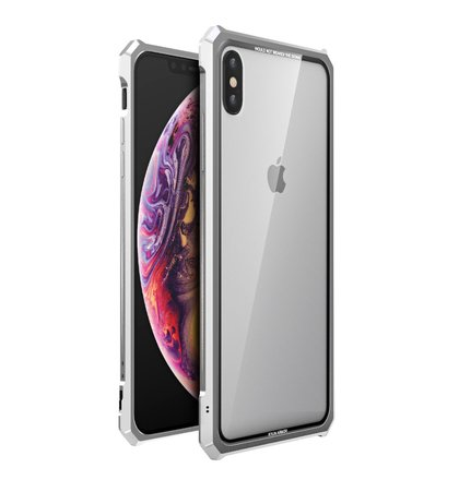 Luphie King of Snaps Magnetic Aluminium Bumper Case Glass Silver pro iPhone XS Max