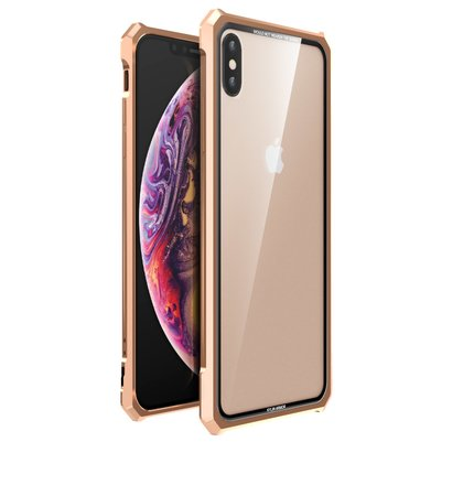 Luphie King of Snaps Magnetic Aluminium Bumper Case Glass Gold pro iPhone XS Max