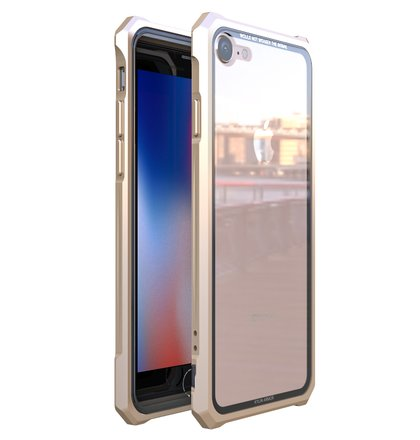 Luphie King of Snaps Magnetic Aluminium Bumper Case Glass Gold pro iPhone 7/8
