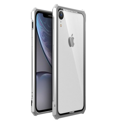 Luphie King of Snaps Magnetic Aluminium Bumper Case Glass Silver pro iPhone XR