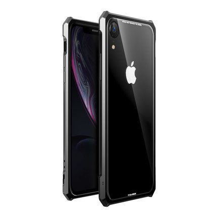 Luphie King of Snaps Magnetic Aluminium Bumper Case Glass Black pro iPhone XR