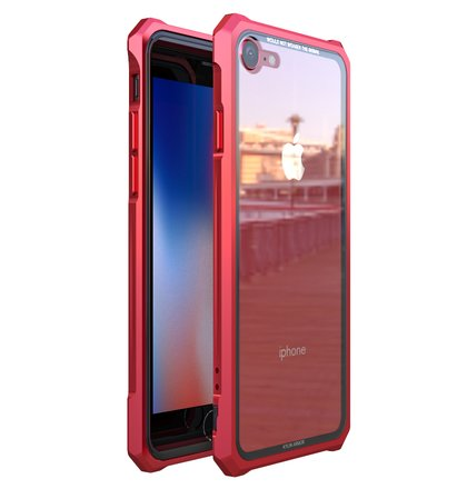 Luphie King of Snaps Magnetic Aluminium Bumper Case Glass Red pro iPhone 7/8