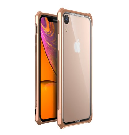 Luphie King of Snaps Magnetic Aluminium Bumper Case Glass Gold pro iPhone XR