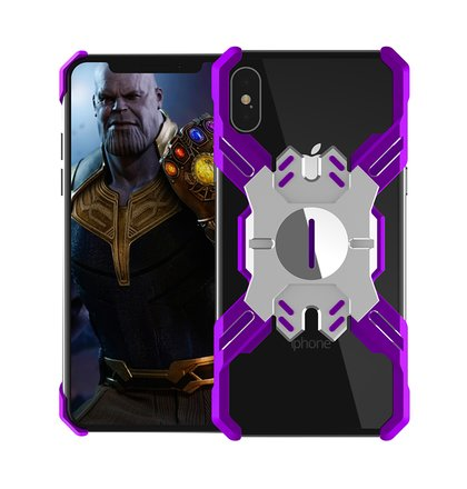 Luphie Heroes Rotation Aluminium Bumper Case Purple/Silver pro iPhone XS Max