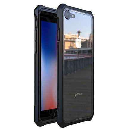 Luphie King of Snaps Magnetic Aluminium Bumper Case Glass Black pro iPhone 7/8