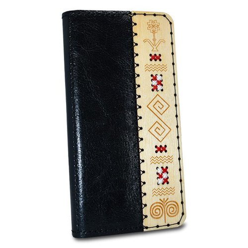 Kožené puzdro SK Handmade Folk Edition iPhone X/Xs - čierne s vôňou medu