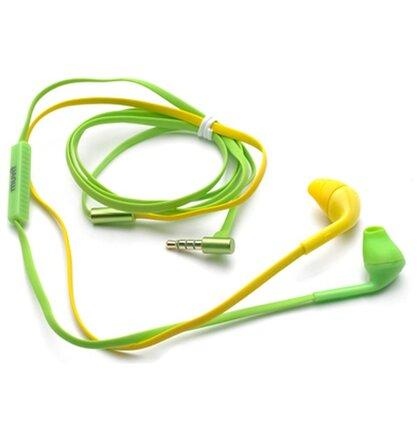 Muvit-Stereo slúchadlá s mikrofónom, 3,5 mm jack konektor, žltá-zelená