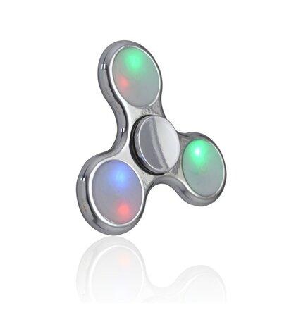 Fidget Spinner s LED svetlami plastový strieborný