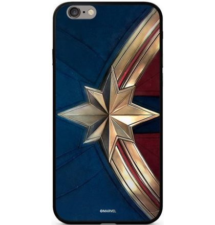 Puzdro Marvel Glass TPU iPhone XS Captain Marvel vzor 022 - modré (licencia)