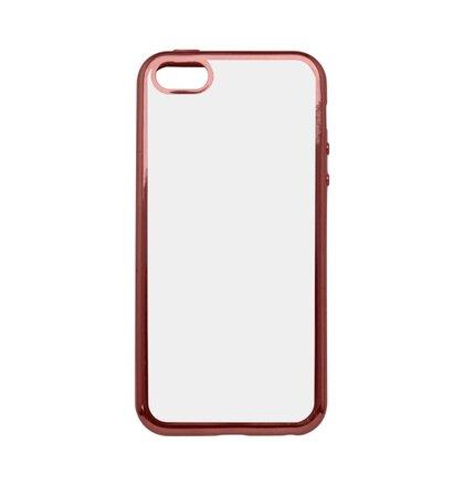 Gumené puzdro iPhone 5 priehľadné, medený rám