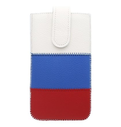 Kožené puzdro, veľkosť 4XL, biela-modrá-červená