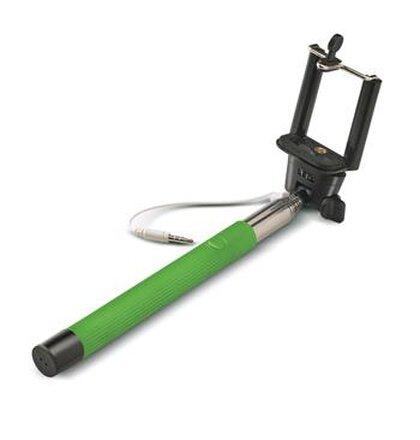 Selfie stick CELLY, spúšť cez 3,5mm jack, drážka proti pretáčaniu, zelená