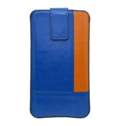 Koženková vsuvka 4XL, modrá (oranžový kraj)