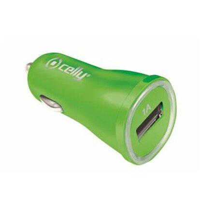 CL autonabíjačka CELLY s USB výstupom, 1A, zelená, blister, rozbalené