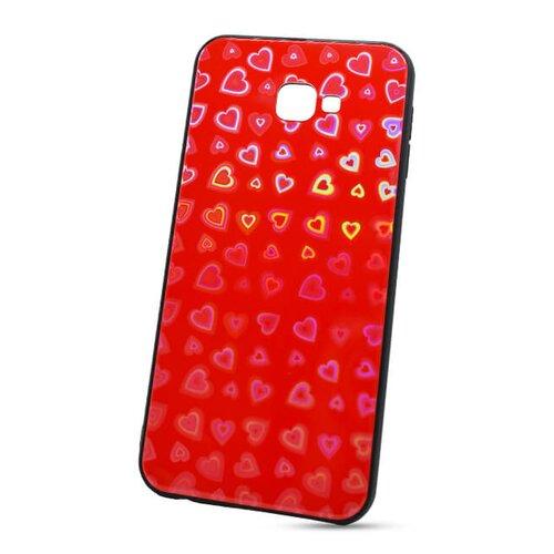 Puzdro Glass Reflect TPU Samsung Galaxy J4+ J415 Srdcia - červené