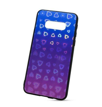 Puzdro Glass Reflect TPU Samsung Galaxy S10e G970 Srdcia - modro-fialové