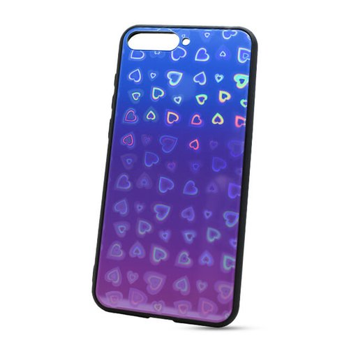 Puzdro Glass Reflect TPU Huawei Y6 2018 Srdcia - modro-fialové