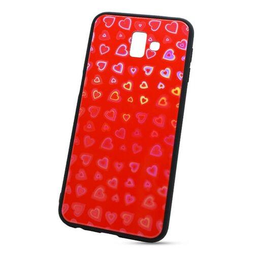 Puzdro Glass Reflect TPU Samsung Galaxy J6+ J610 Srdcia - červené