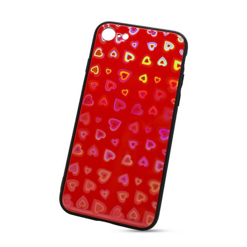 Puzdro Glass Reflect TPU iPhone 7/8 Srdcia - červené