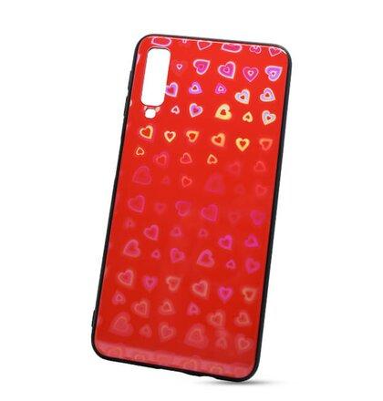 Puzdro Glass Reflect TPU Samsung Galaxy A7 A750 Srdcia - červené