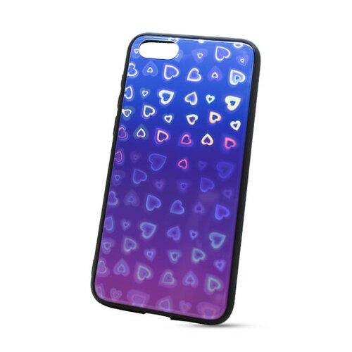 Puzdro Glass Reflect TPU Huawei Y5 2018 Srdcia - modro-fialové