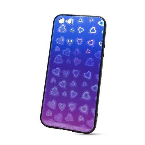 Puzdro Glass Reflect TPU iPhone 5/5S/SE Srdcia - modro-fialové