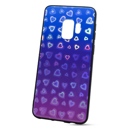 Puzdro Glass Reflect TPU Samsung Galaxy S9 G960 Srdcia - modro-fialové