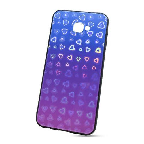 Puzdro Glass Reflect TPU Samsung Galaxy J4+ J415 Srdcia - modro-fialové
