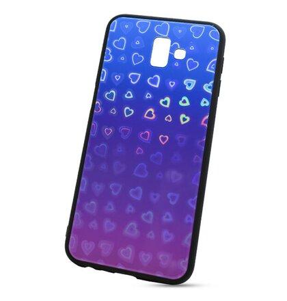 Puzdro Glass Reflect TPU Samsung Galaxy J6+ J610 Srdcia - modro-fialové