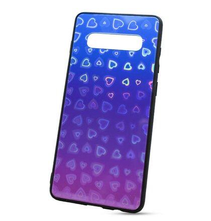 Puzdro Glass Reflect TPU Samsung Galaxy S10+ G975 Srdcia - modro-fialové