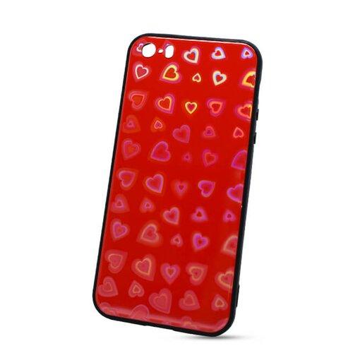 Puzdro Glass Reflect TPU iPhone 5/5S/SE Srdcia - červené