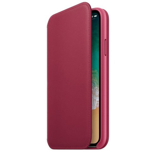Apple iPhone X Leather Folio - Berry MQRX2ZM/A