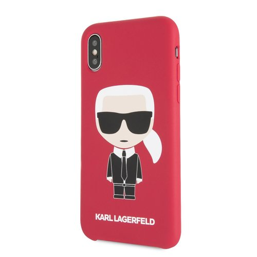 Puzdro Karl Lagerfeld pre iPhone X/XS KLHCPXSLFKRE silikónové, červené