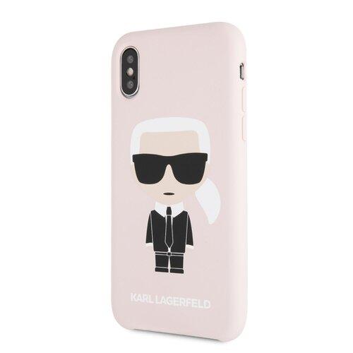 Puzdro Karl Lagerfeld pre iPhone X/XS KLHCPXSLFKPI silikónové, ružové