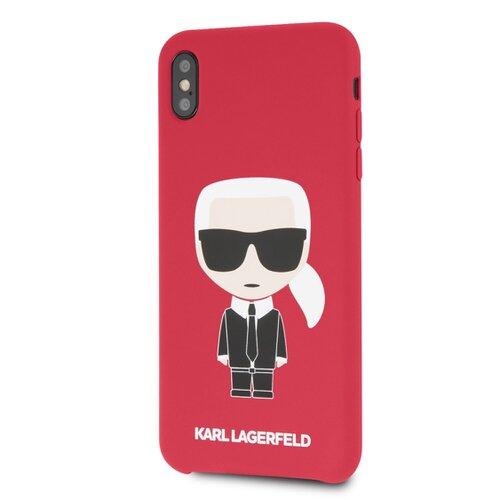 Puzdro Karl Lagerfeld pre iPhone XS Max KLHCI65SLFKRE silikónové, červené