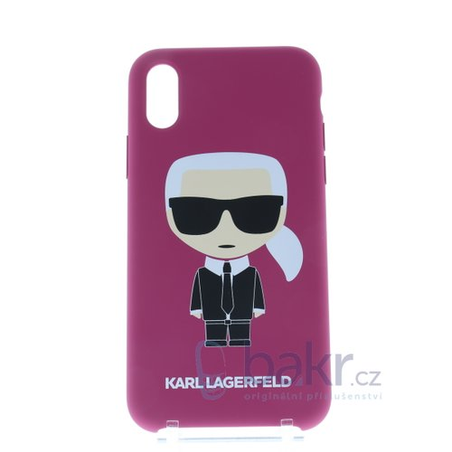 Puzdro Karl Lagerfeld pre iPhone X/XS KLHCPXSLFKFU silikónové, tmavoružové