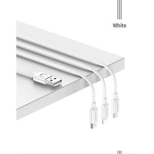 Dátový kábel USAMS SJ324 3v1 (Lightning, MicroUSB, USB-C) 1.2m Biely (EU Blister)