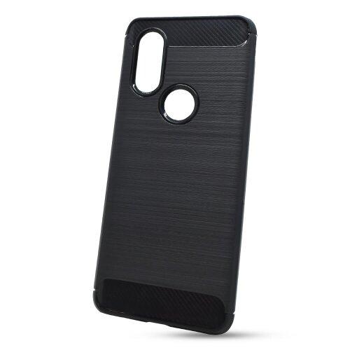 Puzdro Carbon Lux TPU Motorola One Vision - čierne