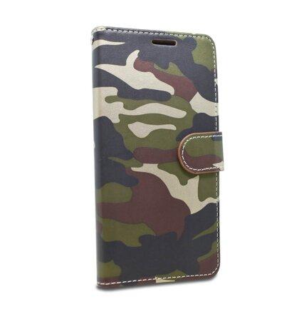 Puzdro Army Camouflage Book Samsung Galaxy A40 A405 - zelené