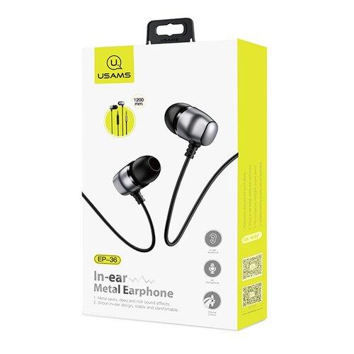 USAMS EP-36 In-Ear Steel Stereo Headset 3,5mm Tarnish