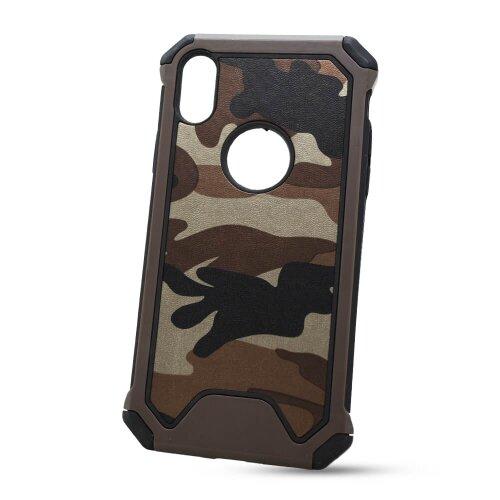 Puzdro Camouflage Army TPU Hard iPhone X/Xs - hnedé
