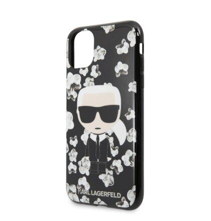 KLHCN65FLFBBK Karl Lagerfeld TPU Flower Kryt pro iPhone 11 Pro Max Black (EU Blister)