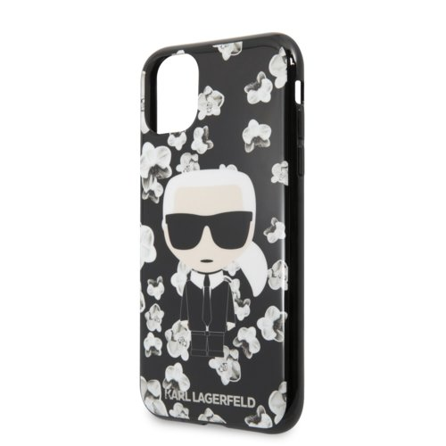 Puzdro Karl Lagerfeld pre iPhone 11 KLHCN61FLFBBK silikónové, čierne