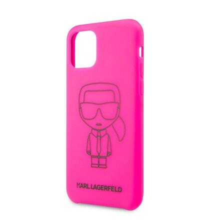 KLHCN61SILFLPI Karl Lagerfeld Silikonový Kryt pro iPhone 11 Black Out Pink (EU Blister)