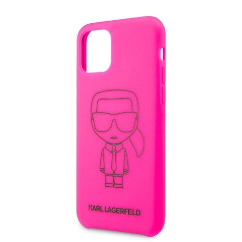 Puzdro Karl Lagerfeld pre pro iPhone 11 KLHCN61SILFLPI silikónové, ružové