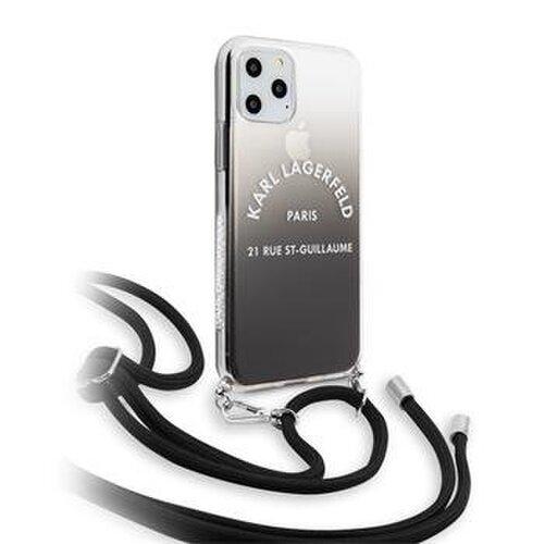 Puzdro Karl Lagerfeld pre iPhone 11 KLHCN61WOGRBK silikónové, čierne